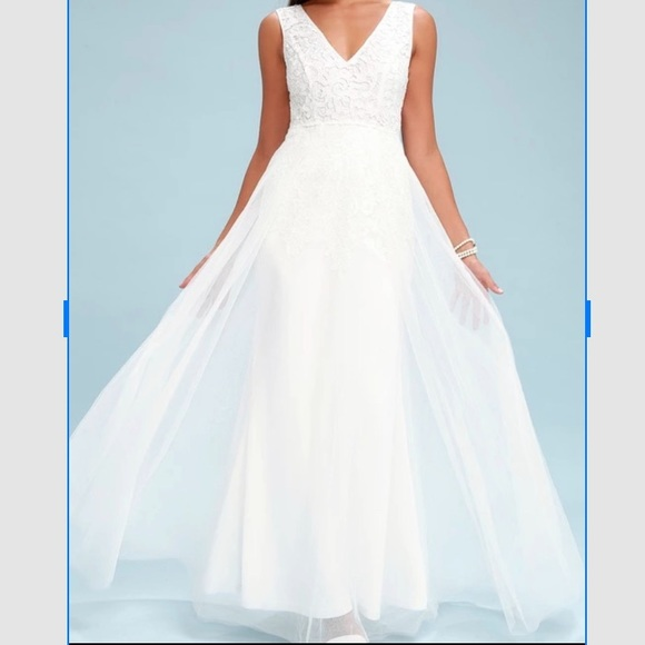 6fdf81682f8 Minnie White Lace Maxi Dress. NWT. Lulu s